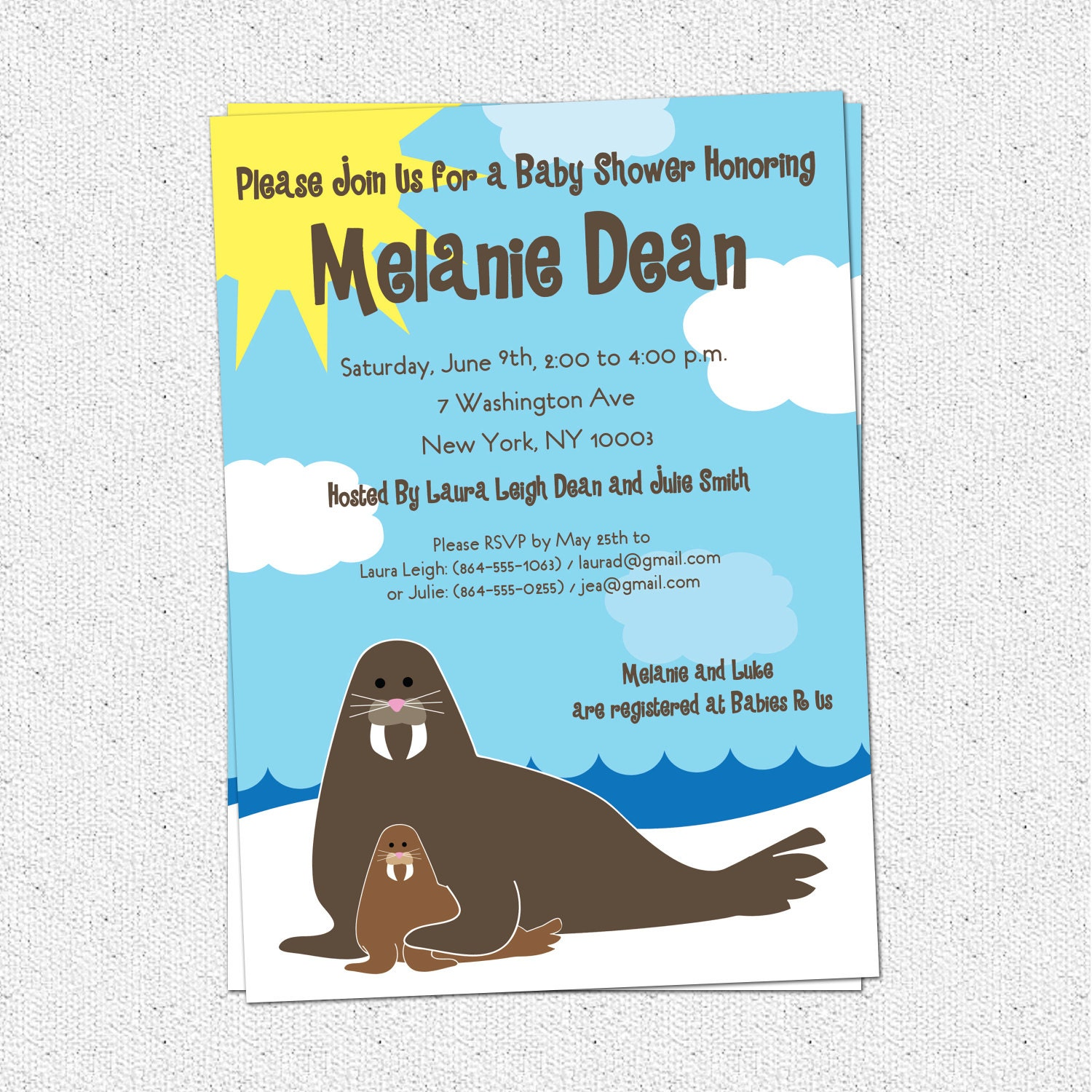 walrus baby shower invitation mom and baby funny and cute