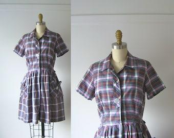 SALE vintage 1950s dress / purple plaid 50s day dress