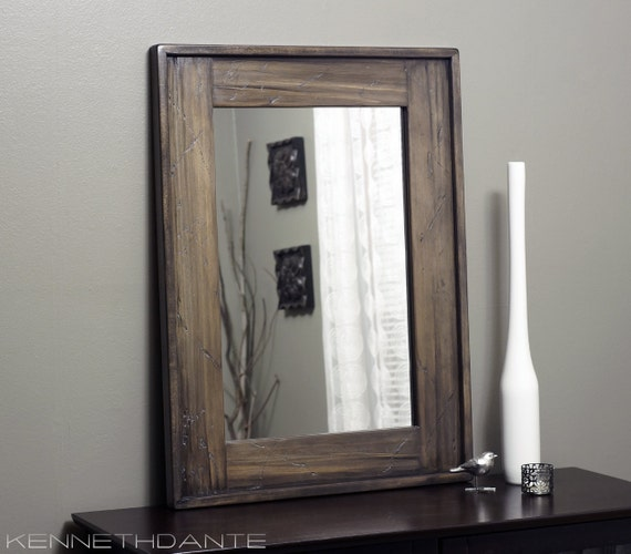 Wood Framed Mirror Rustic Weathered Distressed by KennethDante