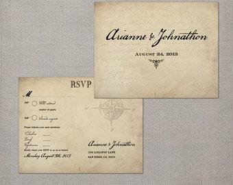 Rsvp postcard / Rsvp postcards / Rustic wedding rsvp / Wedding rsvp card / Rsvp / Response card / Reply cards / Rsvp card - Vintage Map 2