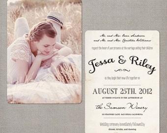 "Wedding Invitation / Rustic Wedding Invitations / Wedding Invites / Vintage Wedding Invitation - the ""Jessa"""