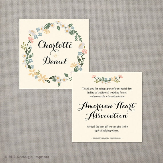 Wedding Gift List Wording Charity : 50 Wedding Favor Donation Cards / In lieu of favors / Wedding favor ...