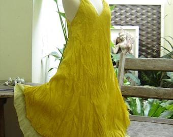 M-XL Double Layers Cotton Dress - Mustard Yellow
