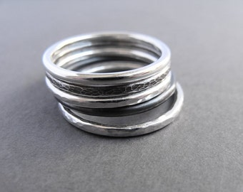 Five sterling silver stacking rings, minimalist stackable rings, mix style, oxidized, hammered silver ring