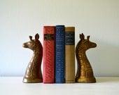 Vintage Brass Bookends, Giraffe Figurines, Hollywood Regency Library Decor, Heavy Metal Book Holders