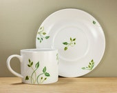 Ceramic Coffee Cup with Saucer Green Leaves Queen Anne's Lace botanical design  Tea Cup Hand Painted Kitchen Decor