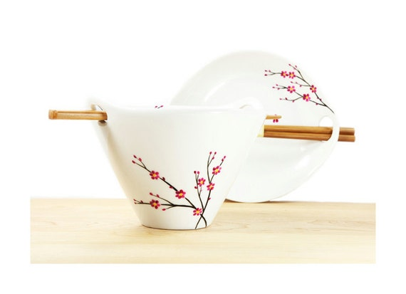 Hand Painted Bowl White  Ceramic Noodle Bowl  Asian cherry tree design pink black botanical minimalist kitchen decor serving dish