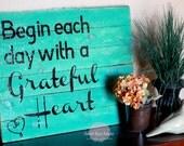 CUSTOM Grateful Heart Wood Pallet Art