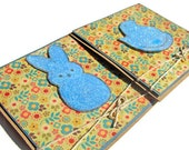 Square Blue Chicken Bunny Marshmallow Easter Handmade Greeting Card, Spring Chicken Candy