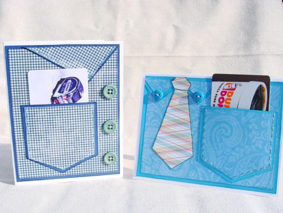 Men's Shirt with Gift Card Pocket Handmade Greeting Card Birthday Father's Day Masculine