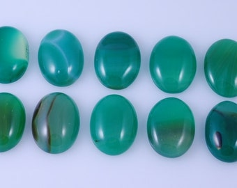 10 pcs Oval Green Agate Calibrated Cabochon 20x15mm JA1B9730