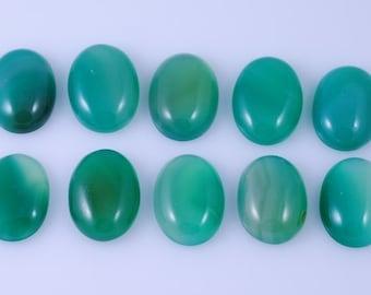 10 pcs Oval Green Agate Calibrated Cabochon 20x15mm JA1B9727