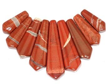 Pretty 9 pieces Red River Jasper Pendant Bead Set J46B5510