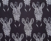 Black and White Zebra Head Print Pure Cotton Fabric from Alexander Henry--One Yard