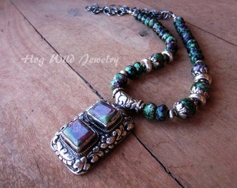 Handcrafted Artisan Ruby Zoisite Sterling Silver Necklace