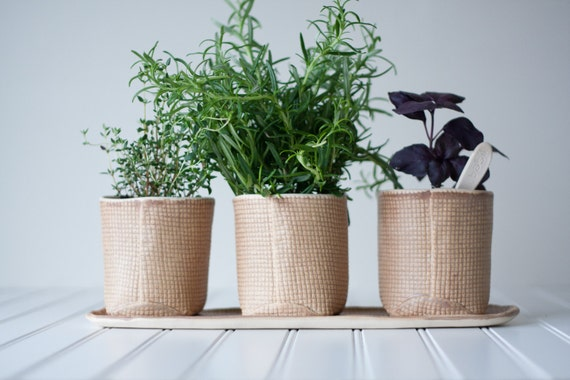 RESERVED LISTING for STEPHANIE -Flower Pot Set - Pottery Planters - Handmade Burlap Brown Pots