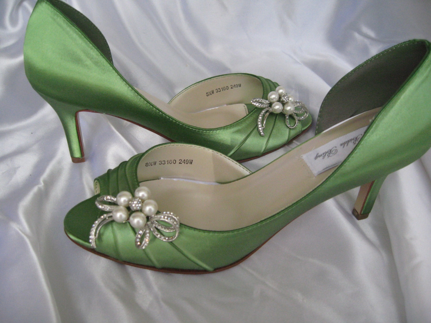 wedding shoes apple green bridal shoes with pearl and crystal