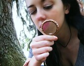 Copper Magnifying Glass Pendant Sherlock Looking Glass Pendant Nature Investigating Necklace  (1522)