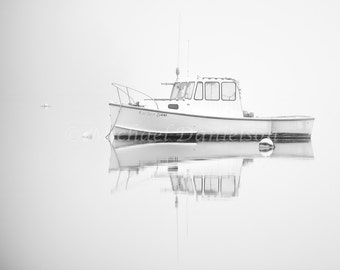 Fishing Boat Reflection Black and White 8x10 Photograph Print