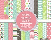 Spring Showers Digital Paper Pack  - Personal and Commercial Use