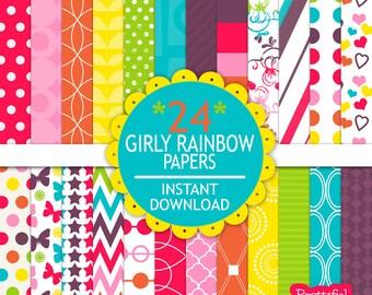Rainbow Digital Paper Scrapbooking Printable Rainbow Hued Paper Pack