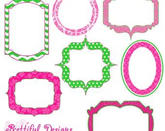 Fancy Digital Frames Hot Pink Lime Green Clip Art - Sleepless