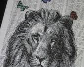 BOGO SALE Lion Dictionary Art Print Lion and Butterflies Print  Dictionary Art Dictionary Print HHP Original Concept and Design
