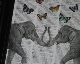 BOGO SALE Elephant Dictionary Art Print Ellie Shares Her Butterflies with Her Love Art Print Wall Art Print HHP Original Design and Concept