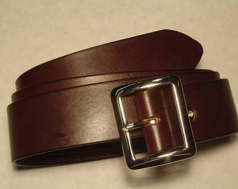 "Custom Made English Bridle Leather Belt 1 1/2"". Plain and Simple. Available in  2 colors Black and Dark Brown."