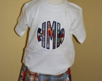 Boys madras print monogram tee and matching shorts by Gigi Babies