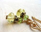 Dainty Earrings Lemon Quartz, Green Peridot, Gold Semi Precious Petite Lemon Lime