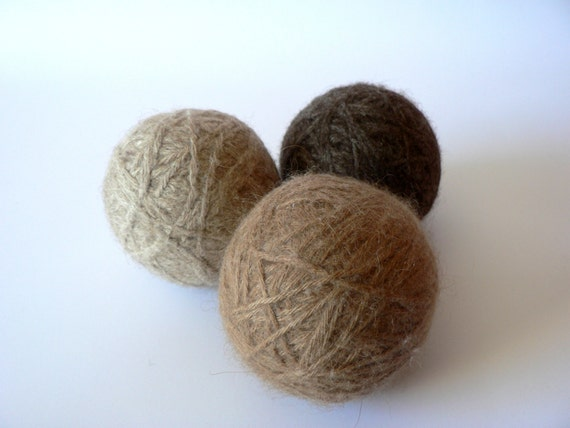 Handmade Wool Dryer Balls Unscented Natural Brown Set of 3