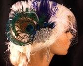 Feather Bridal Fascinator, Feather Fascinator, Purple Peacock, Bridal Fascinator, Rhinestone Hair clip, Wedding Veil, Fascinator