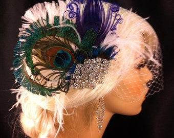 Fascinator, Feather Bridal Fascinator, Feather Fascinator, Purple Peacock, Bridal Fascinator, Rhinestone Hair clip, Wedding Veil, Fascinator