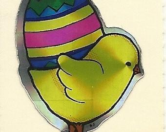 Vintage 80's BJ Prism Chick with Easter Egg Sticker