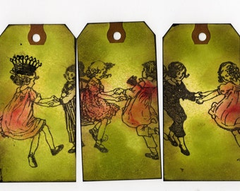 4 Victorian Children Altered Art Tags, Mixed Media Tags, Shipping Tag Art