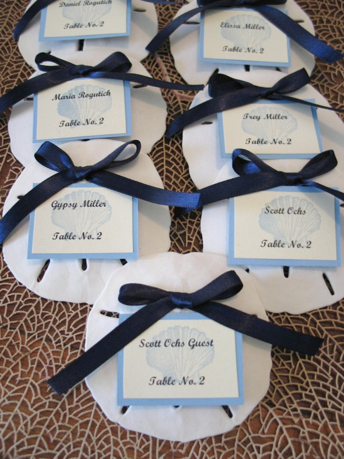 real weddings sand dollar escort cards photo