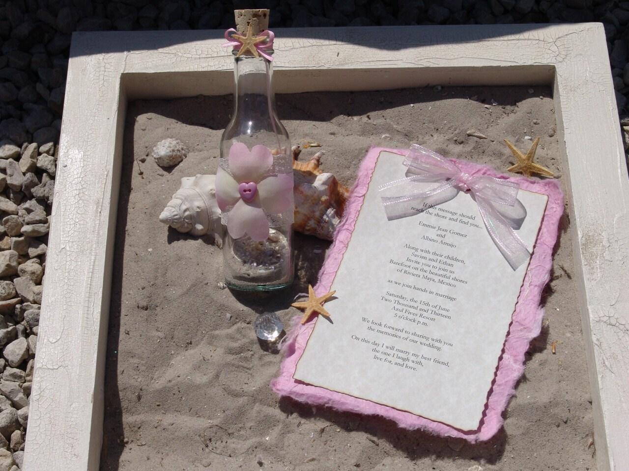 Message In A Bottle Wedding Invitations: Custom Message In A Bottle Beach Wedding By