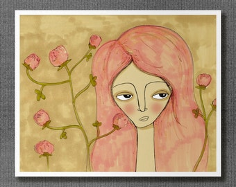Red Clover Girl // Spring Flowers Illustration, Giclee, Reproduction, Digital Print, Girl Portrait, Coral, Pink, Neutral