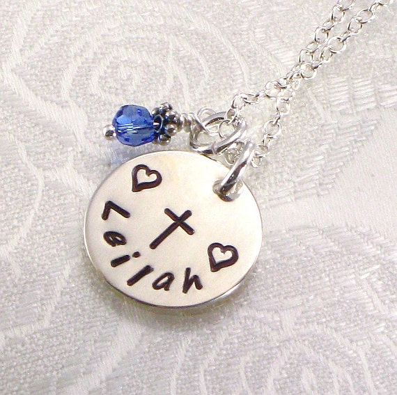Personalized Cross Necklace - Hand Stamped with One Single Name on Sterling Silver Disc- First Communions, Confirmation and Baptisms