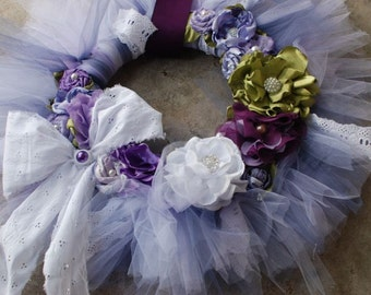 The Rebekah Wreath- Shabby Chic tutu tulle wreath with shades of purple- spring time garden- wedding- baby