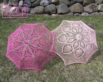 "48"" FUCHSIA or Light Pink Lace Pineapple Crochet UMBRELLA PARASOL, Mothers Day Wedding, Summer Party Favor"