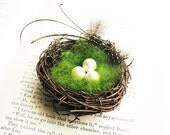 Nest Boutonniere with Pearls and Feathers- Birds Nest Forest Nature Wedding