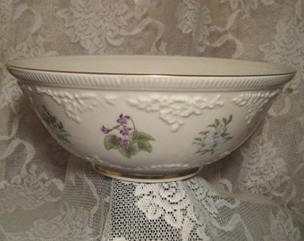 "Vintage Lenox Fine China Bowl, ""The Constitution Bowl"", Limited Edition Ivory Porcelain with Flowers, Made in U.S.A., 10.5 x4"""