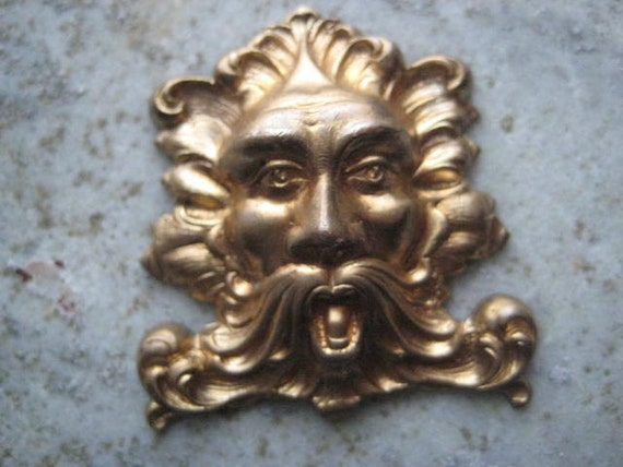 1 Vintage Old Man of the North - North Wind Brass Stamping