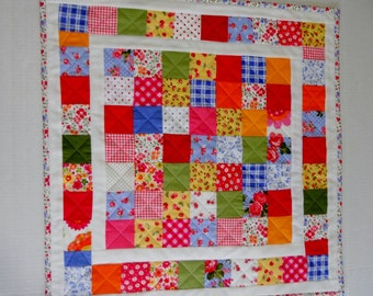 Quilted Table Topper, Table Runner, Patchwork, Feedsack, Retro, Vintage Style, Shabby Chic, Wall Hanging