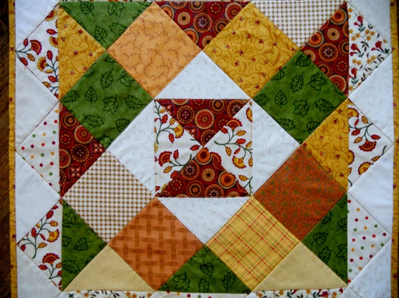 Rustic Farmhouse Fall Autumn Quilted Table Topper Runner