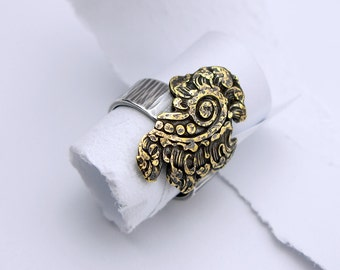 Vintage Brass and Sterling Silver Ring Size 6 1/2 Paisley Handmade Hand-cut and Hammered for Etsy