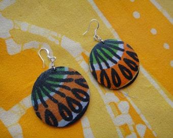 African Petal Pattern Wax Print Fabric Earrings Tie Dye Boho Batik