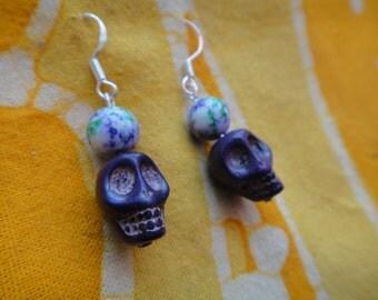 Plum Sugar Skull Beaded Earrings Halloween Day of the Dead